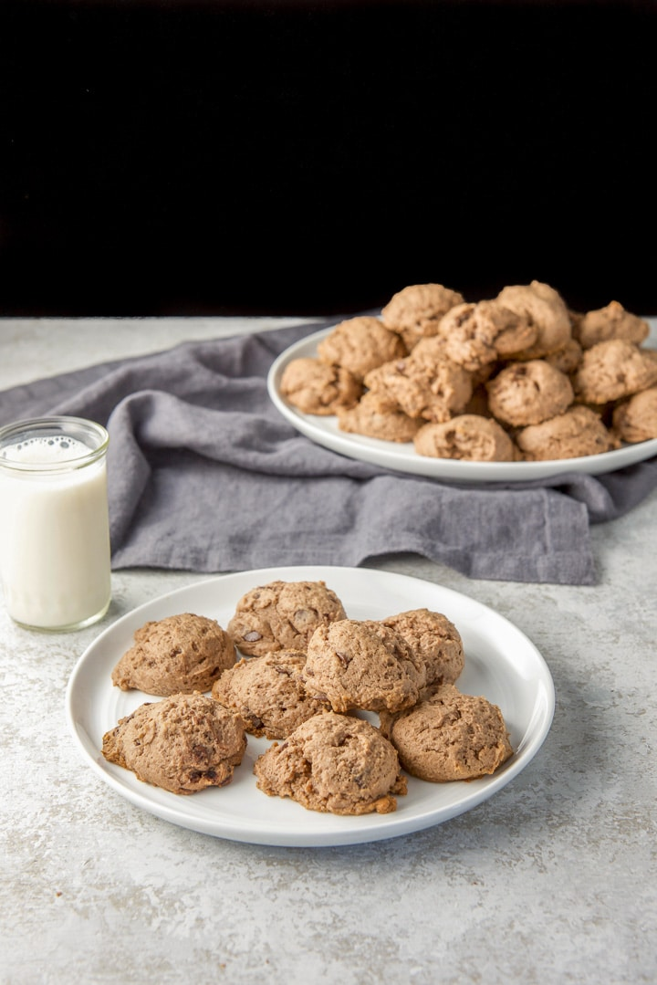 Small plate of chocolate cookies with milk over to the side