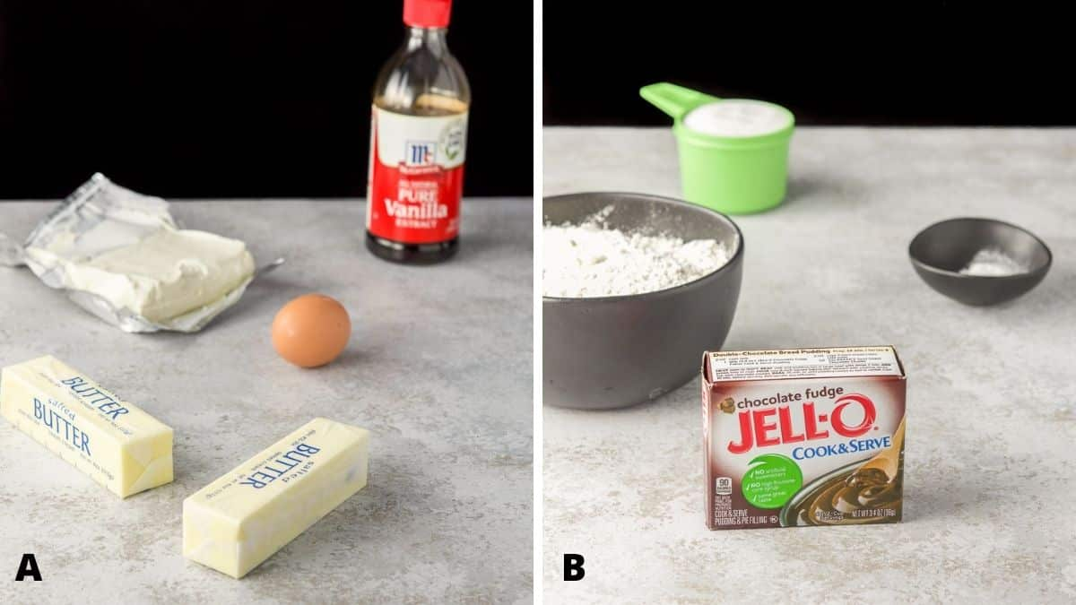 On the left - butter, cream cheese, egg and vanilla. On the right - pudding, flour, sugar and baking soda