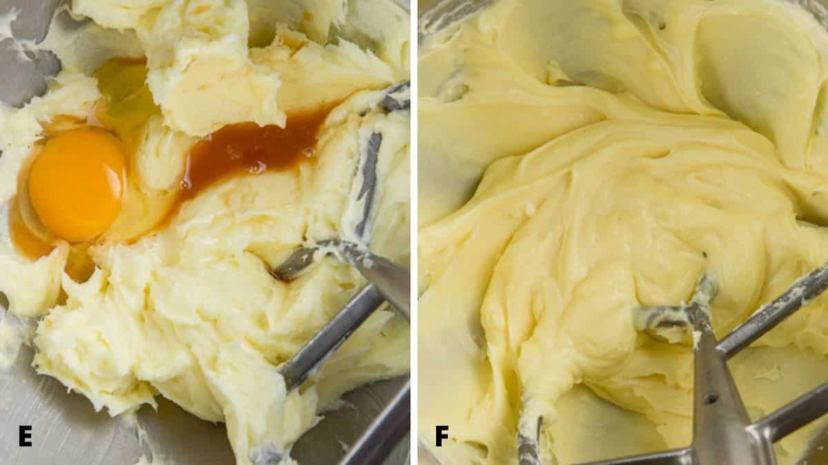 On the left - egg and vanilla added to mixer. On the right - mixed in together