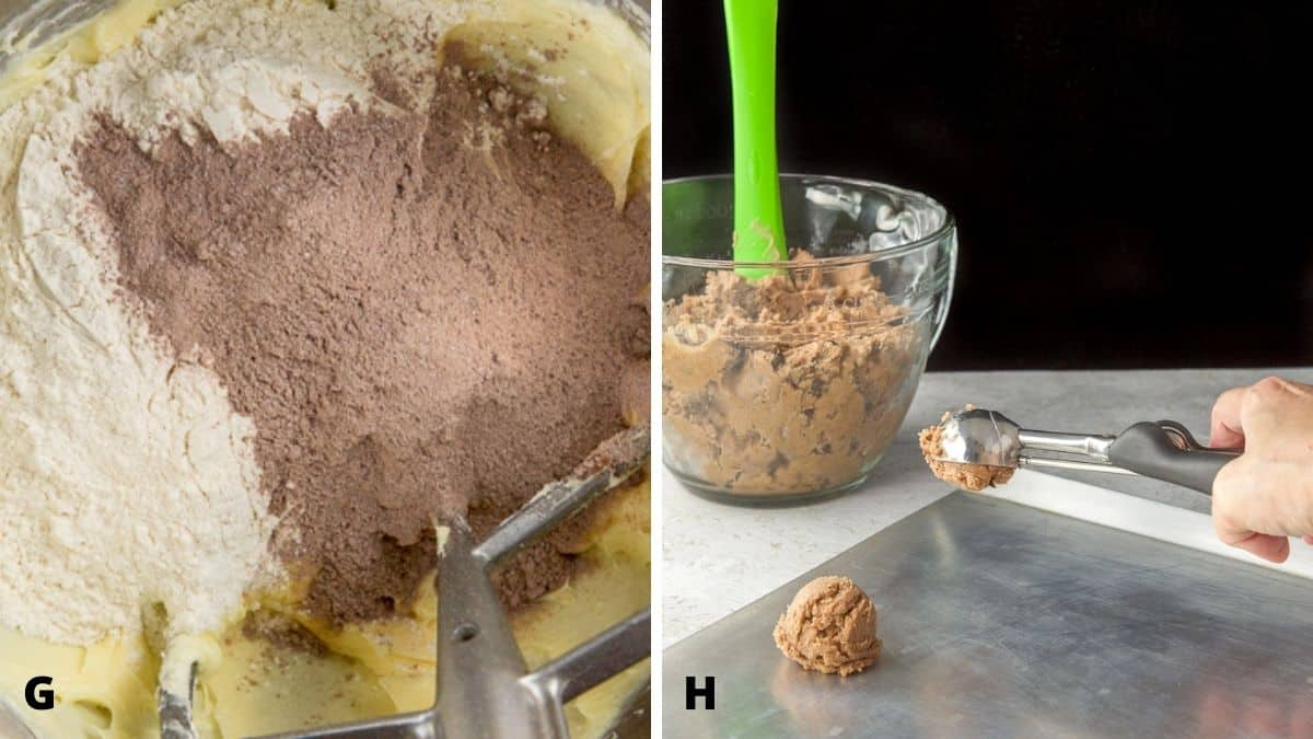 On the left - pudding, flour and baking soda in the mixer. And on the right - a hand holding a scoop of batter over the cookie sheet with a bowl of batter in the background