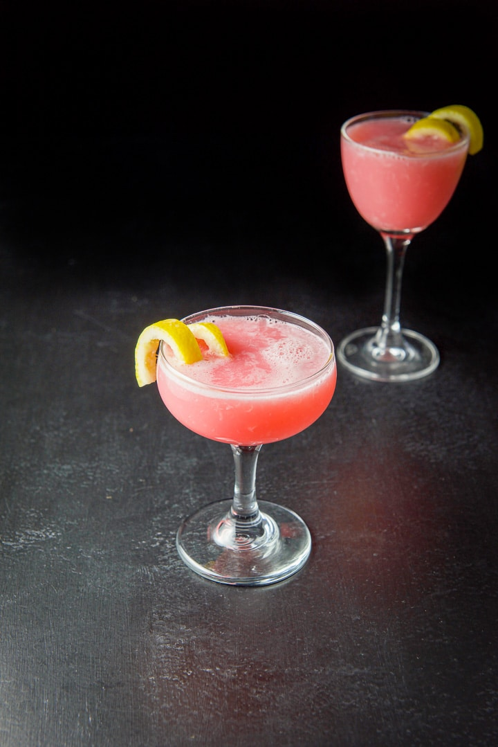 The pink lady cocktail in a coupe and martini glass