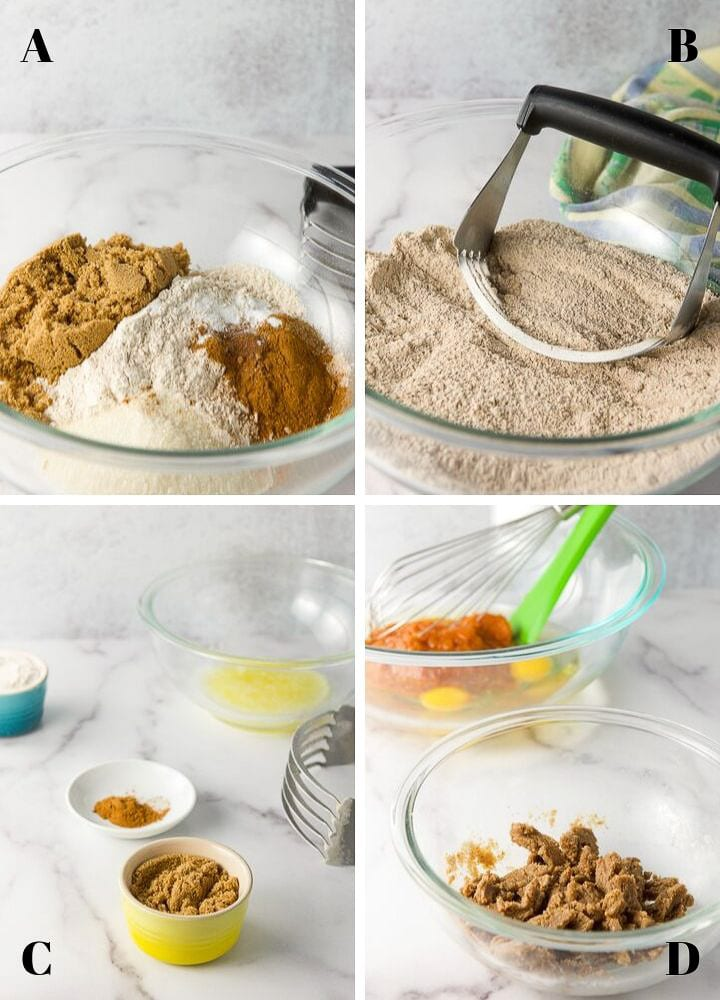Dry ingredients mixed in a glass bowl. There is also the ingredients for the crumble and the mixing of it in the bowl