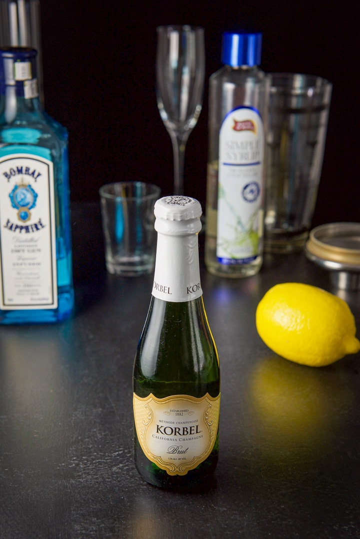 Champagne, gin, simple syrup and lemon for the fabulous French 75 cocktail