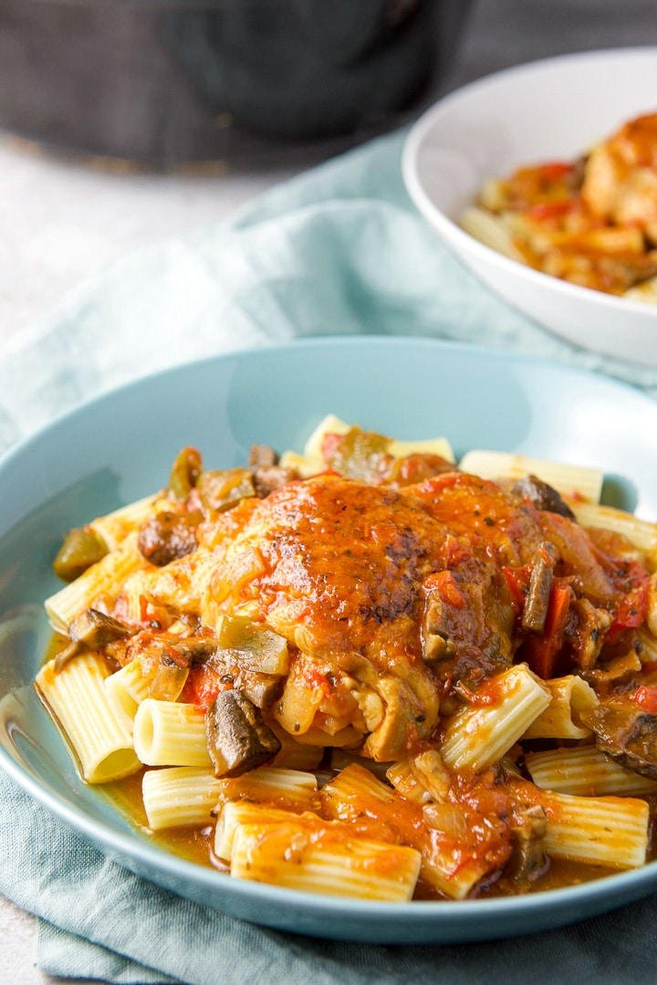 Instant pot chicken cacciatore on some pasta