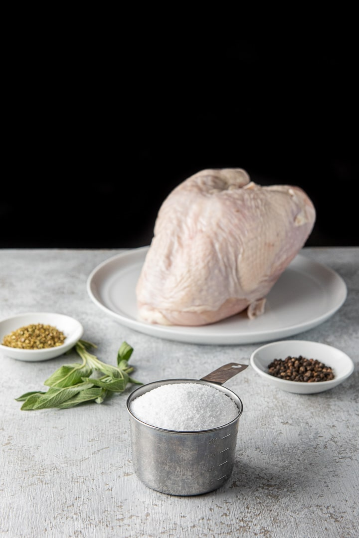 Salt, pepper, oregano, sage for the brined turkey breast