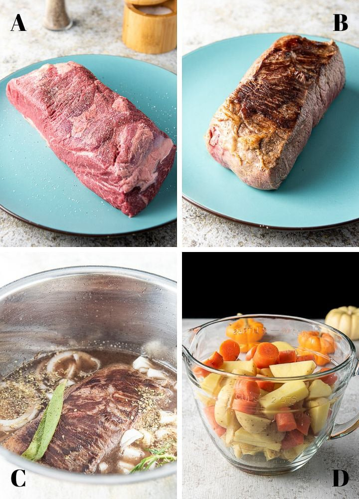 4 photos in a collage: raw roast, seared roast, the ingredients in the IP insert and the cooked veggies in a glass bowl