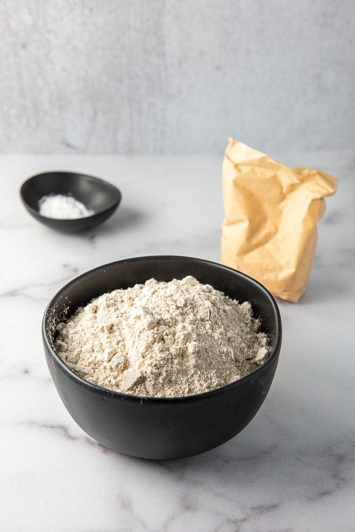 Spelt flour, baking powder, salt and the package of pudding mix for the cookies