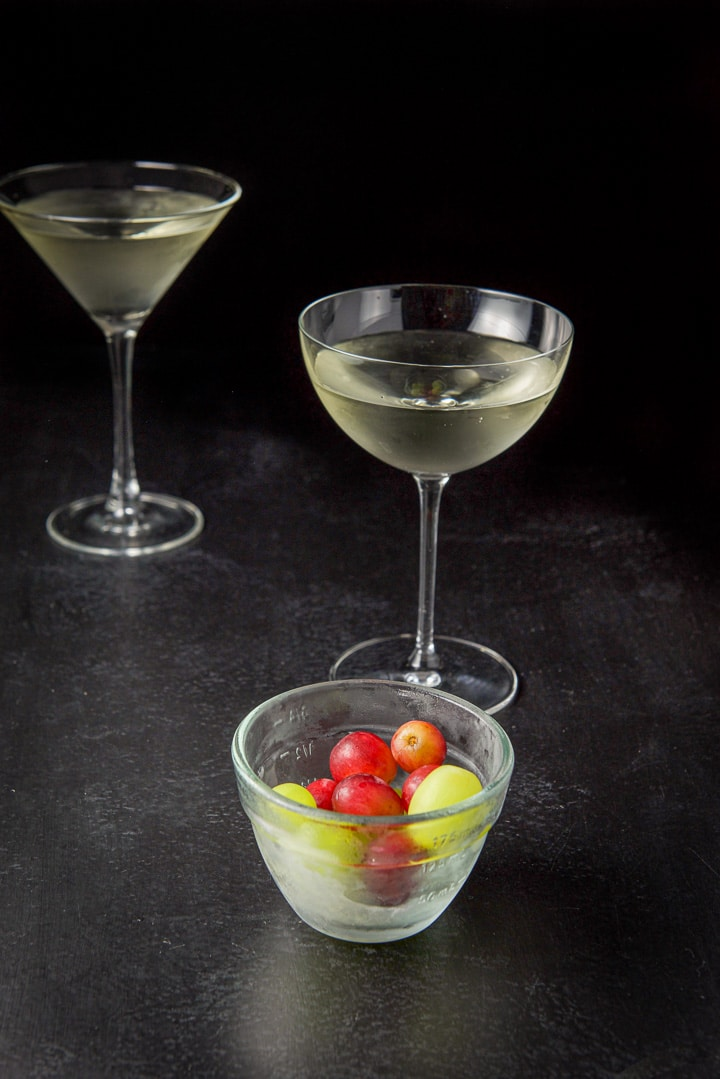 Grapes fresh out of the freezer for the white grape cosmo