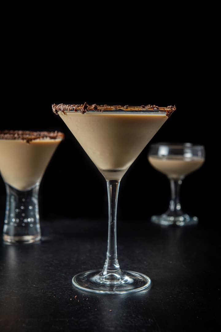 Vertical view of the classic glass with the chocolate martini
