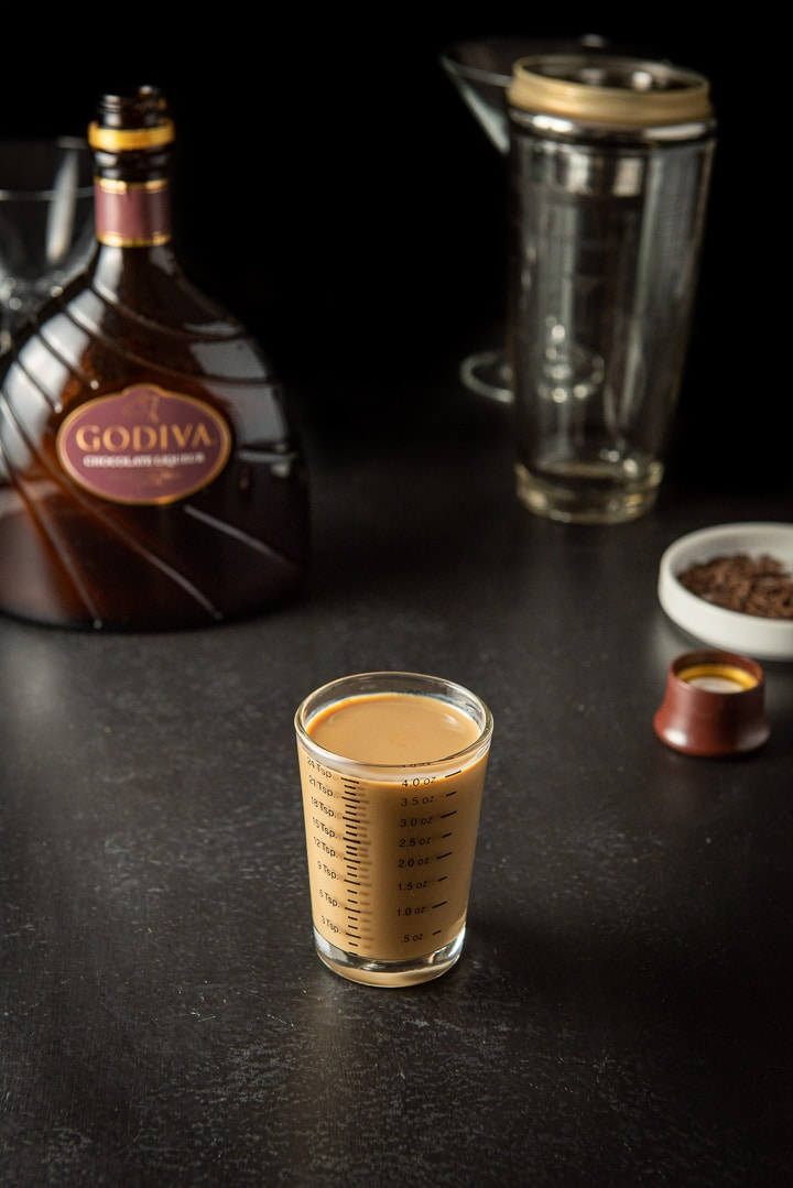 Godiva Chocolate liqueur measured with the bottle in the background