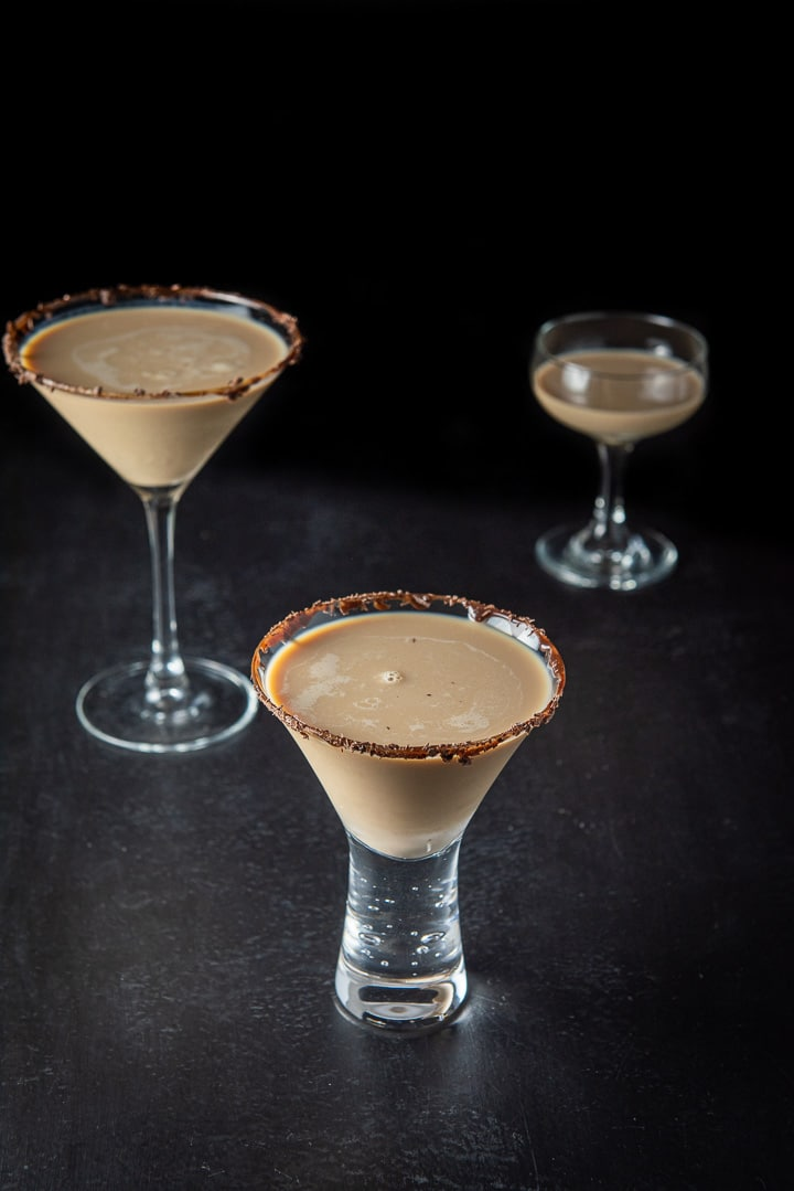 The short glass with chocolate martini in it