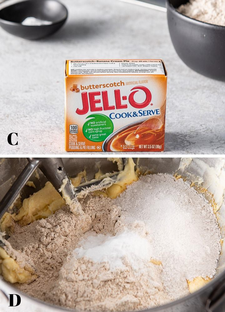 Jello pudding mix, flour, baking soda and salt on a table and then added to the mixer