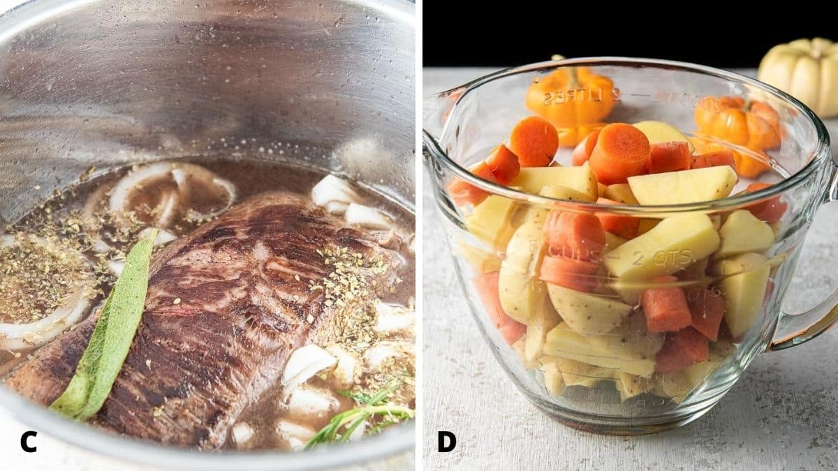 On the left, the seared meat  with the onion, herbs and broth in the insert and on the left the potatoes, carrots and celery in a glass bowl on the right