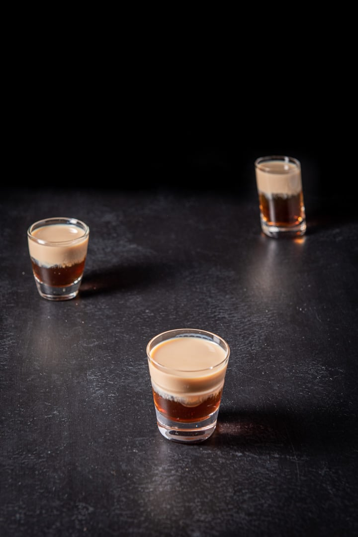 The layered shot in the three glasses taken from a higher view