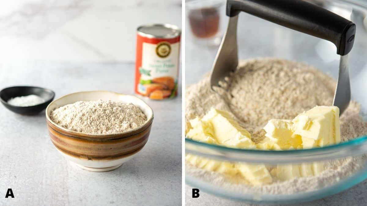 Left - flour, baking powder and canned potato. Right - a glass bowl with the dry ingredients with butter in it