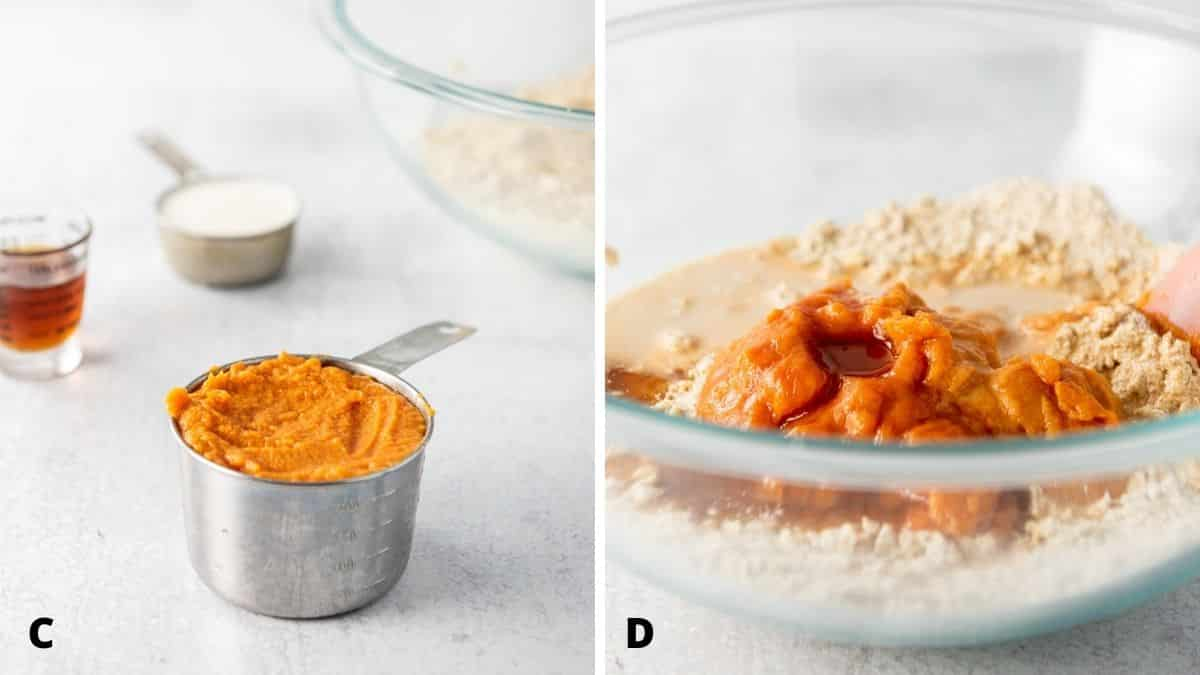 Left - sweet potato, maple syrup, milk. Right - wet ingredients added to the glass bowl of dry ingredients