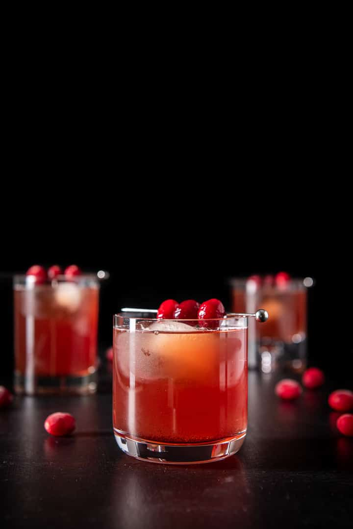 Vertical view of the bourbon cranberry cocktail