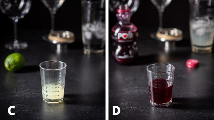 Lemon juice and pomegranate juice poured out with the lime and bottle in the background