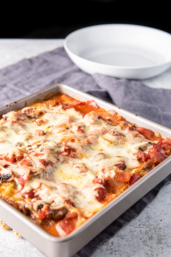 No boil lasagna out of the oven