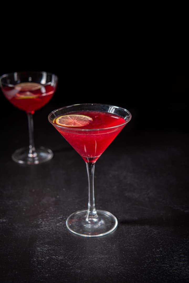 Pomegranate cosmo in the classic martini glass