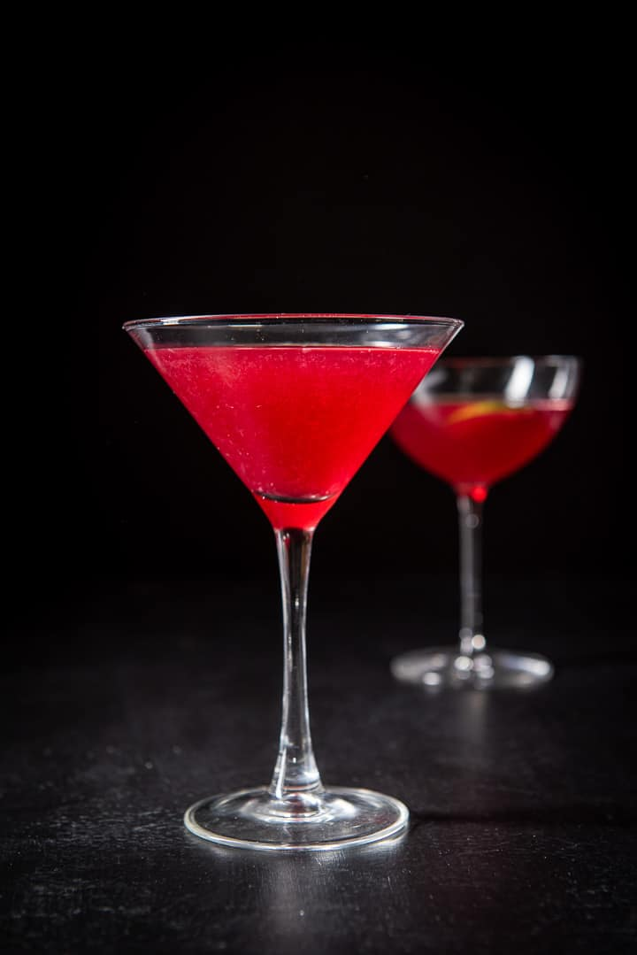 Vertical view of the classic martini glass with the red cosmo