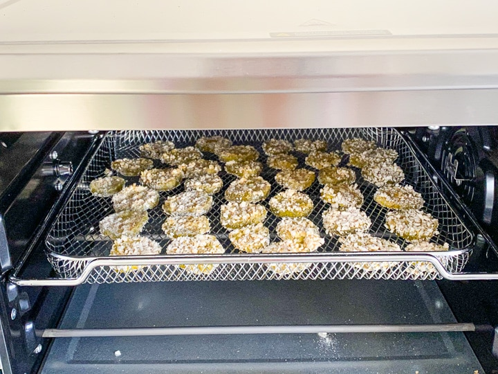 Battered pickles in the oven