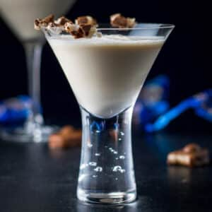 fun bubble martini glass filled with the Almond Joy drink - square