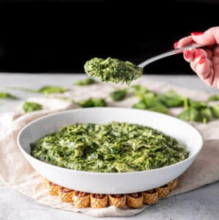 A spoonful of creamed spinach