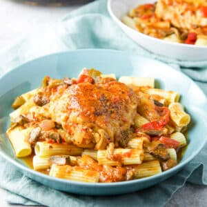 Square photo of Instant pot chicken cacciatore on pasta