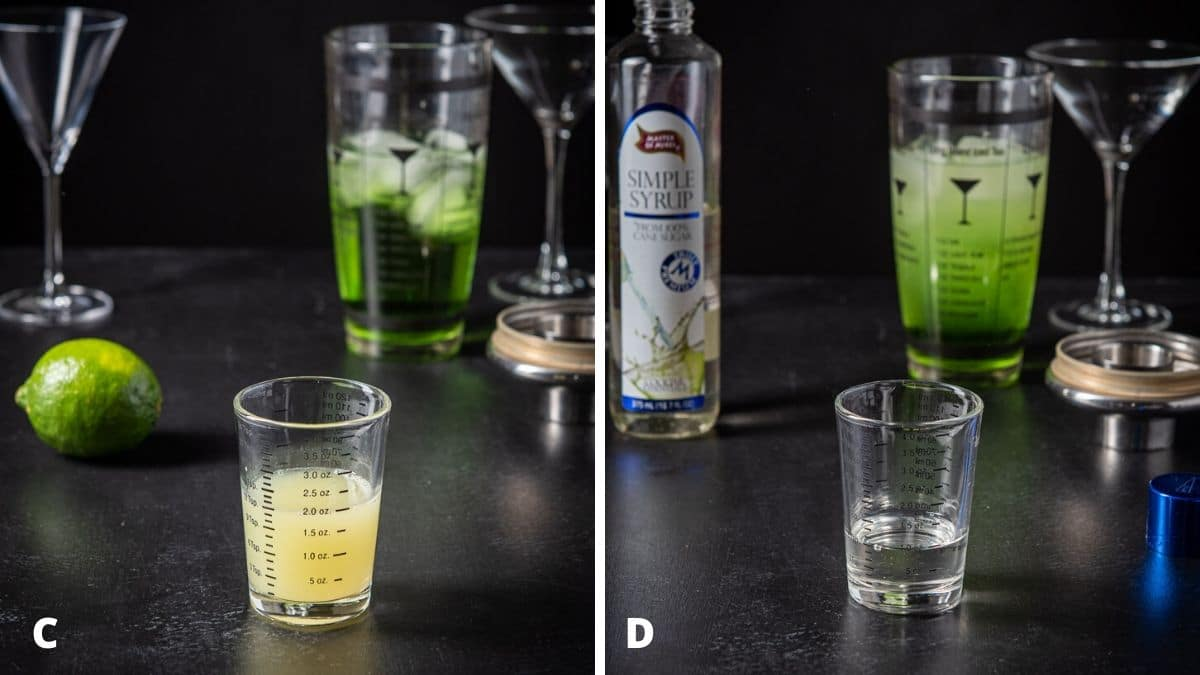 Lime juice and sweetener for the measured out with the shaker and glasses in the background