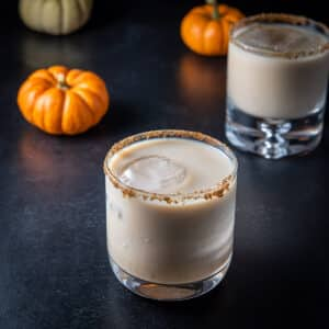 Square photo of the pumpkin spice white Russian