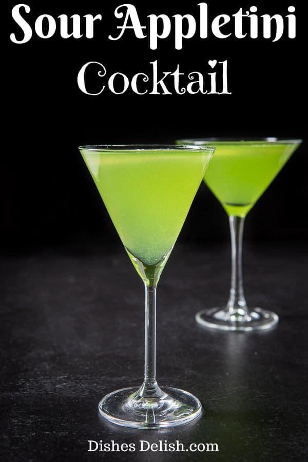 Sour Appletini cocktai for Pinterest