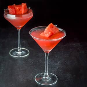 Watermelon Cosmo in a classic martini glass - square
