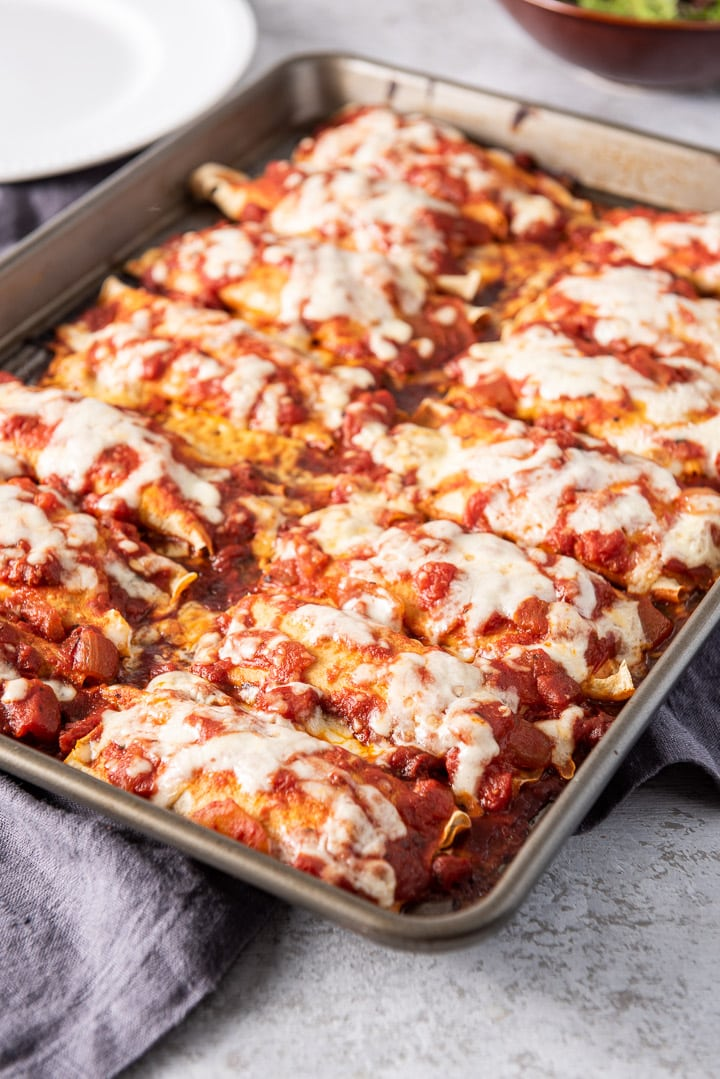 The manicotti fresh out of the oven