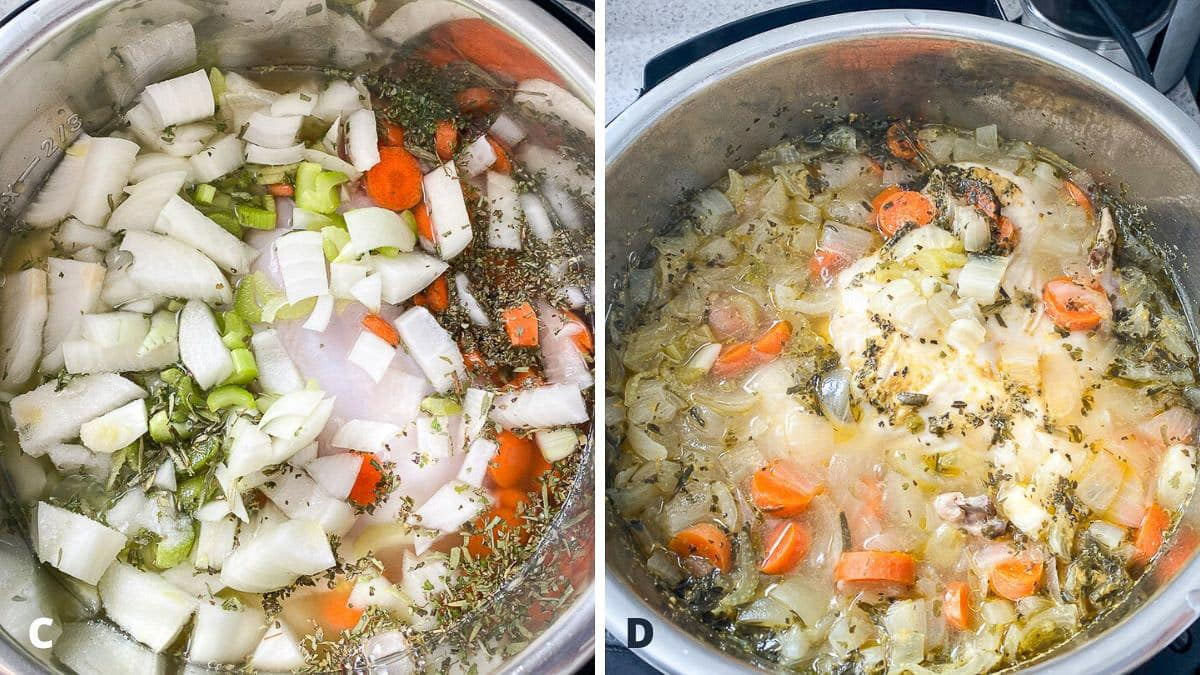 Broth and herbs added to the instant pot and cooked
