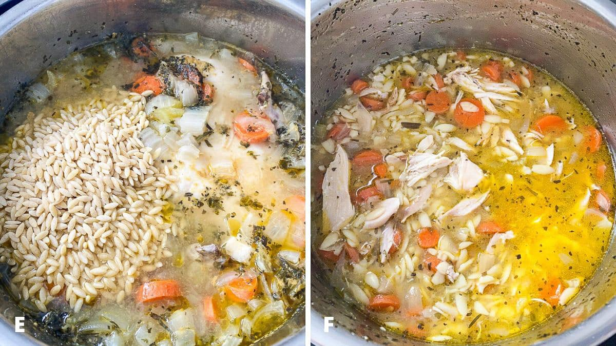 Orzo added to the soup and chicken shredded