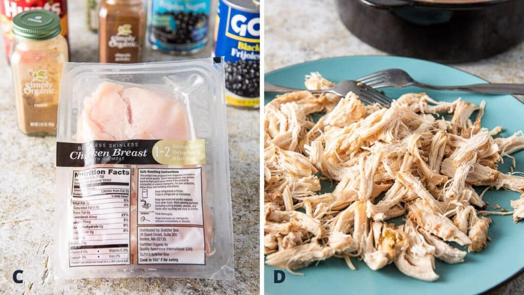 Ingredients and shredded chicken for the soup
