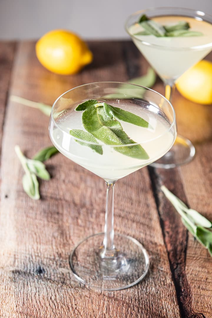 Fun martini glass filled with the martini and sage leaves