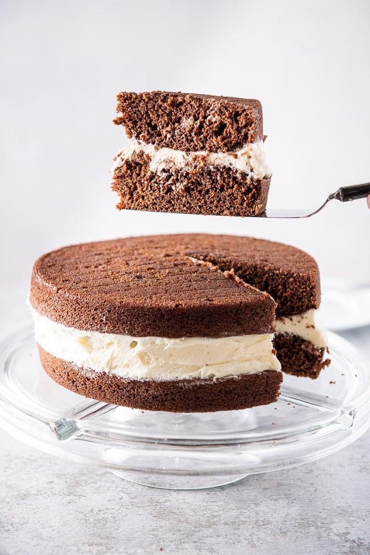Piece of whoopie pie cake on the cake server