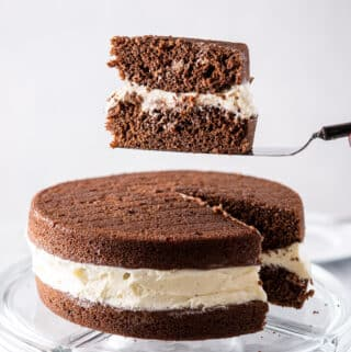 Piece of whoopie pie cake on the cake server - square