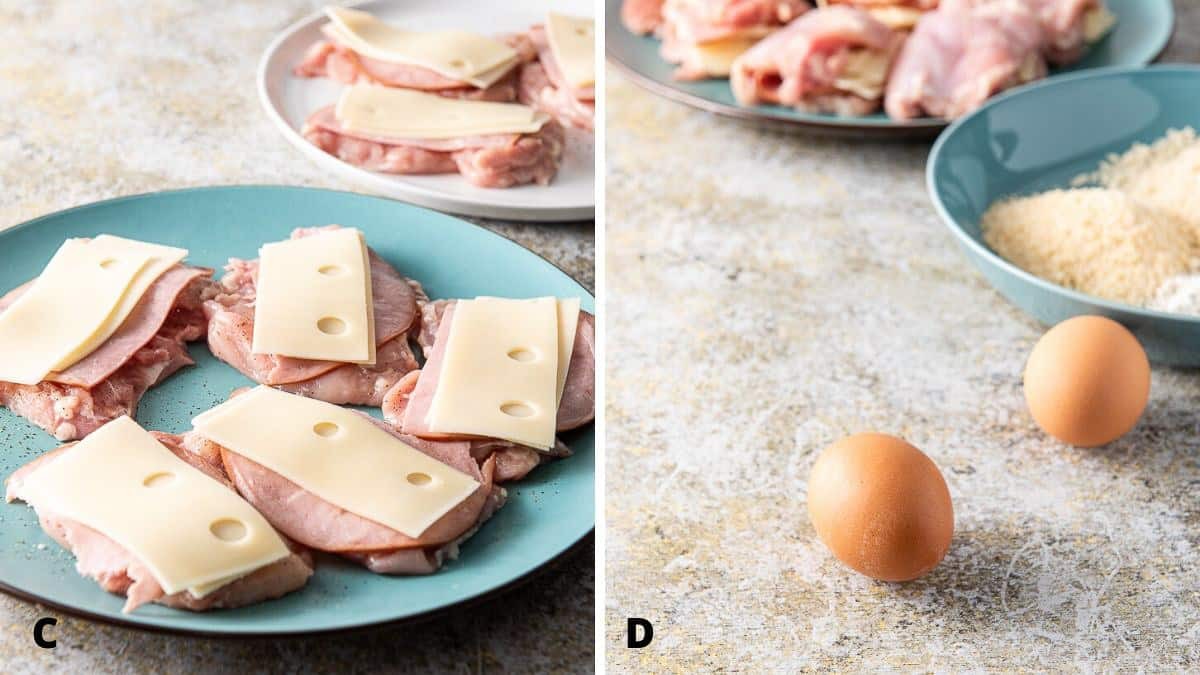 Swiss cheese on the ham and the eggs and breadcrumbs