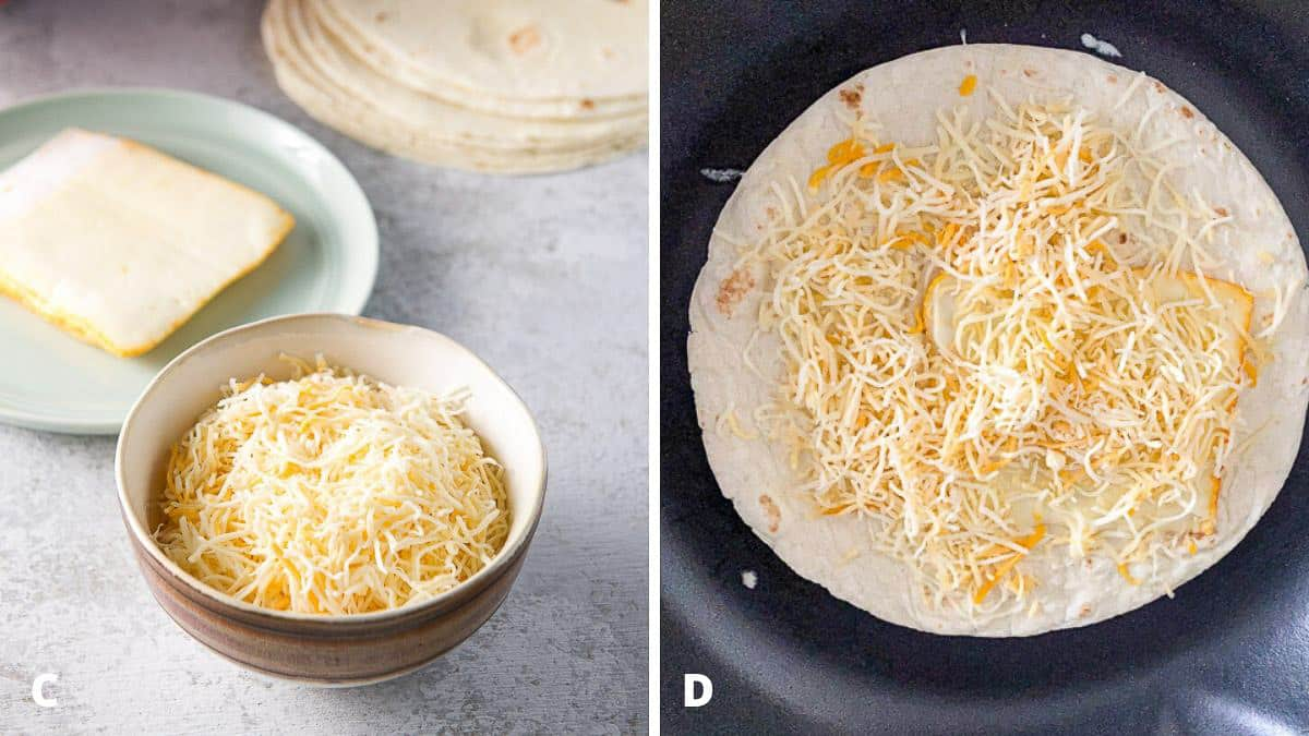 Cheese and tortillas together in the pan