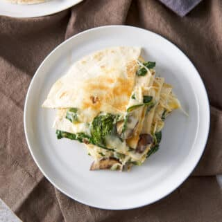 Mushroom and Spinach Quesadillas - square