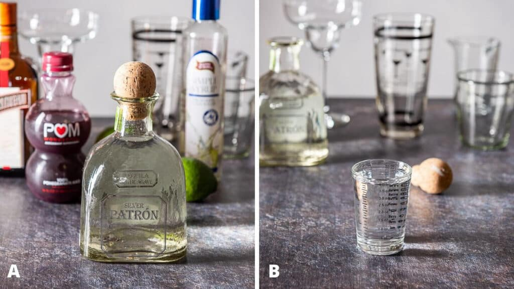 Ingredients and tequila poured