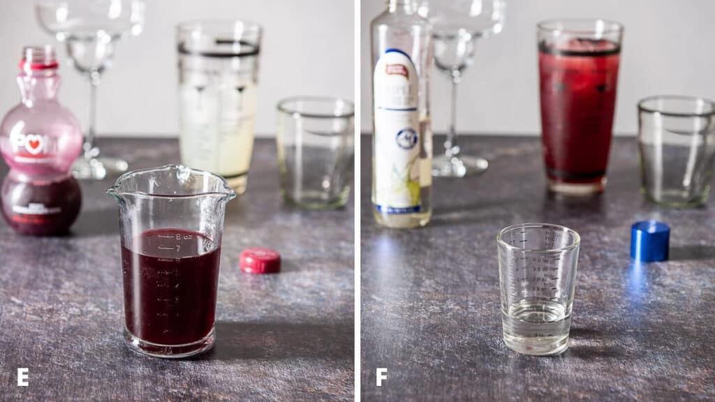 Pomegranate juice and simple syrup measured out