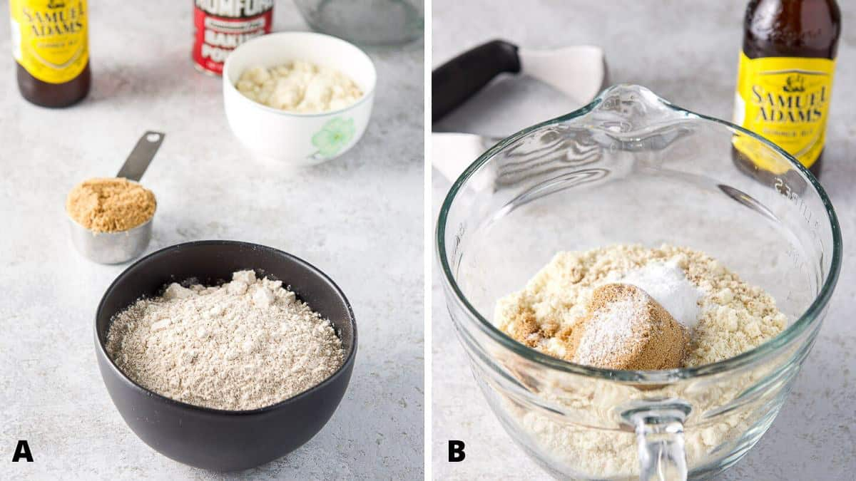 Flour, almond flour, sugars, beer and baking powder in a bowl