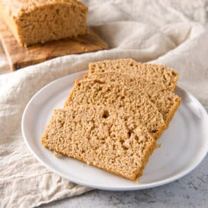 Slices of beer bread on a white plate - square