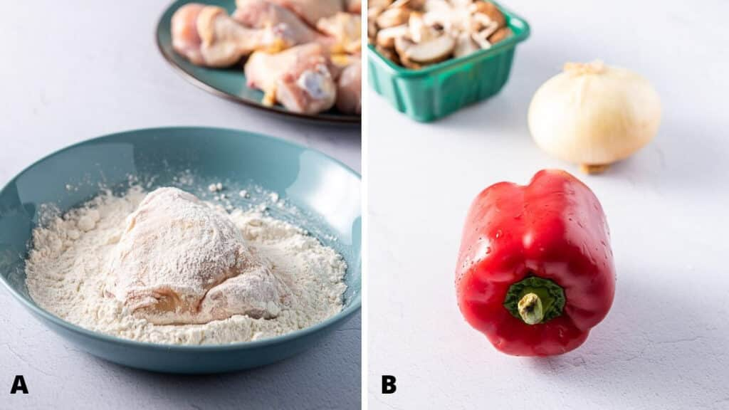 chicken covered in flour and the vegetables for the recipe