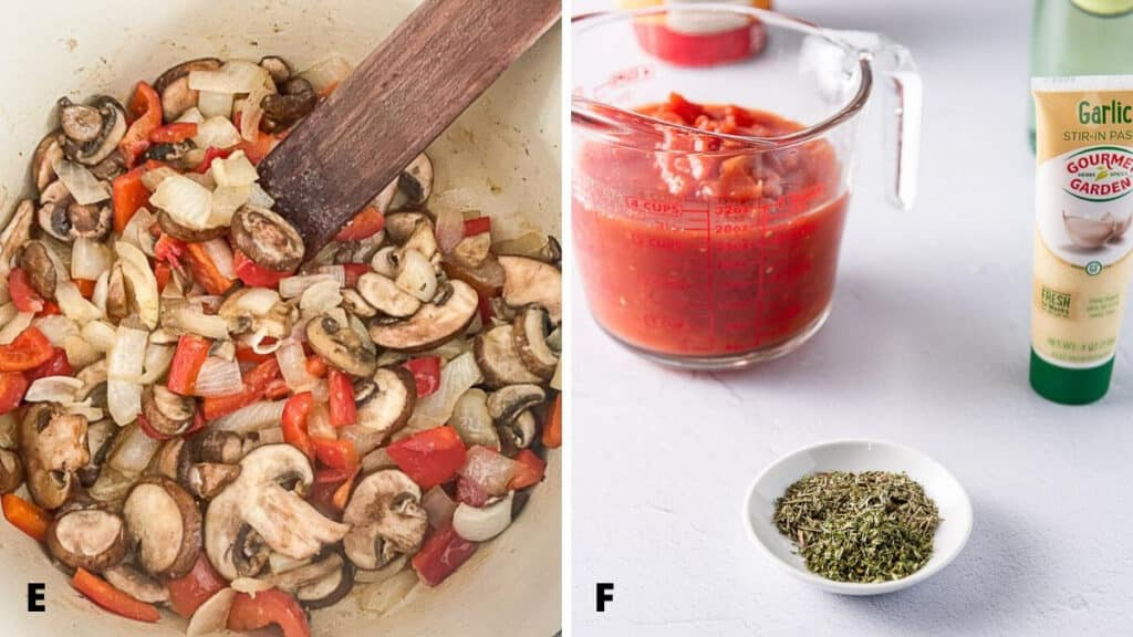 red pepper, onion and mushrooms sauteed in a pan and herbs, diced tomato ready to be added