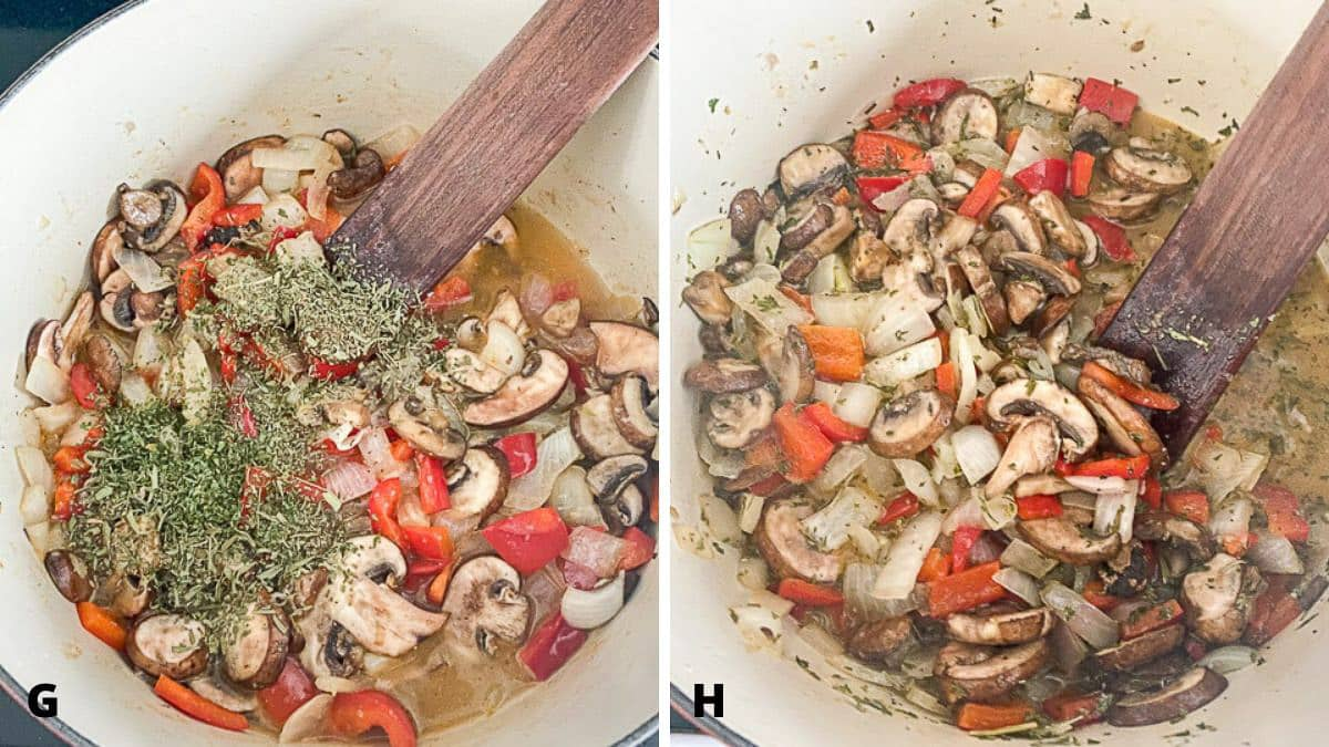 Herbs in the vegetable mixture along with broth and wine